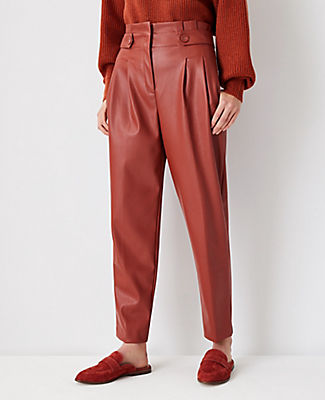Ann Taylor The Faux Leather Paperbag Ankle Pant In Moroccan Spice