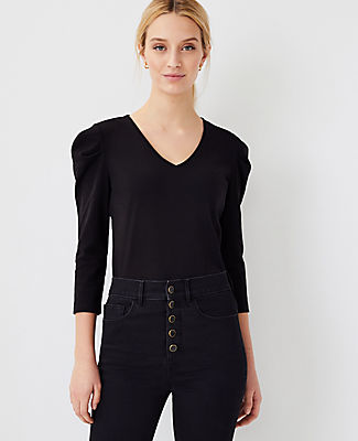 Ann Taylor Puff Shoulder Top In Black