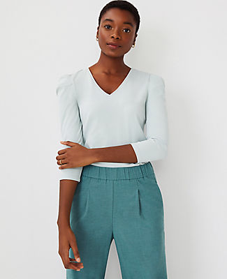 Ann Taylor Puff Shoulder Top In Tidal Mist
