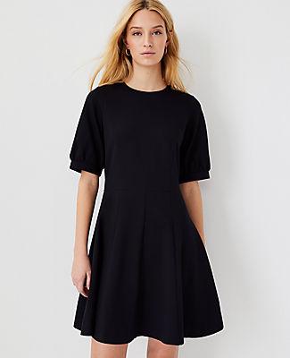 Ann Taylor Ponte Flare Dress In Black