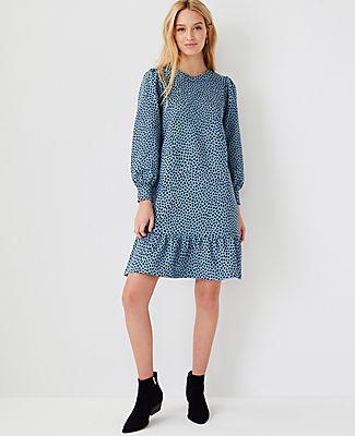 Ann Taylor Animal Print Peplum Sweatshirt Dress In Teal Frost