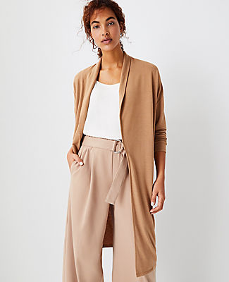 Ann Taylor Shawl Collar Duster Sweater In Spiced Taupe