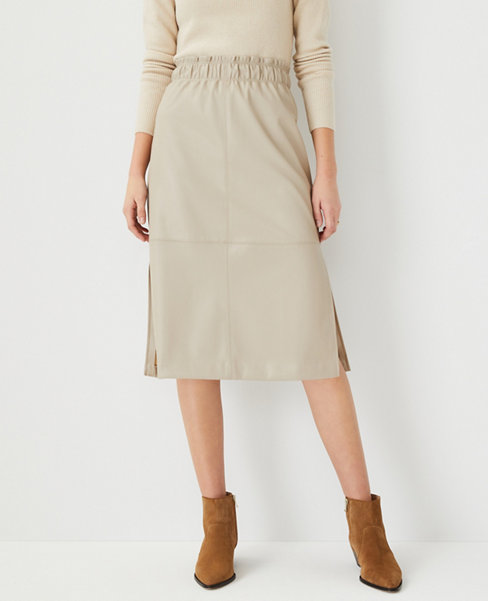 앤테일러 Ann Taylor Faux Leather Paperbag Pencil Skirt,Abalone Grey