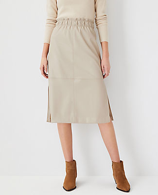 Ann Taylor Faux Leather Paperbag Pencil Skirt In Abalone Grey