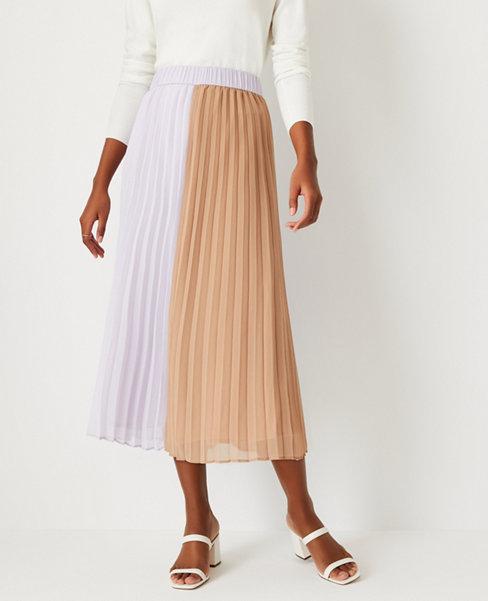 앤테일러 Ann Taylor Colorblock Pleated Midi Skirt,Spiced Taupe