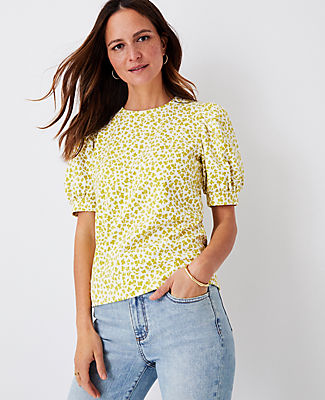 Ann Taylor Floral Puff Sleeve Sweatshirt In Dried Lime