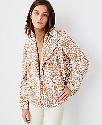 Ann Taylor Leopard Print Peacoat In Spiced Taupe