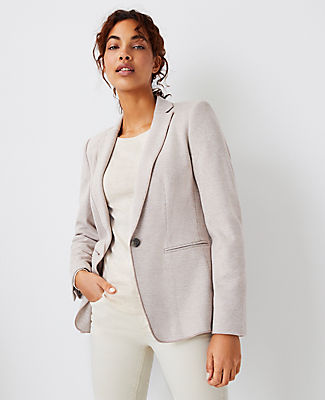 Ann Taylor The Hutton Blazer In Houndstooth In Mid Camel