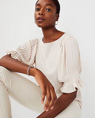 Ann Taylor Mixed Media Pleated Sleeve Top In Ivory Porcelain
