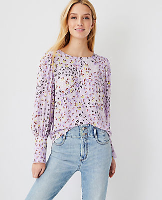 Ann Taylor Floral Mixed Media Puff Sleeve Top In Washed Lavender