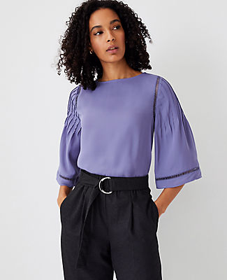 Ann Taylor Mixed Media Flare Sleeve Top In Lavender Iris