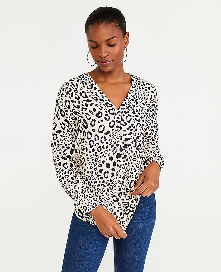 Anntaylor Leopard Print Mixed Media Pleat Front Top