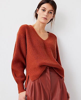 Ann Taylor Ribbed V-neck Sweater In Moroccan Spice