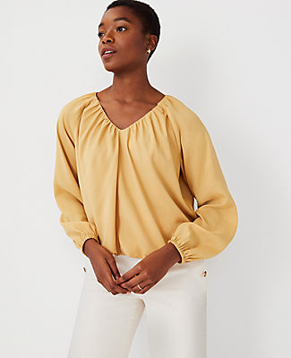 Ann Taylor Bubble Hem V-neck Top In Faded Gold