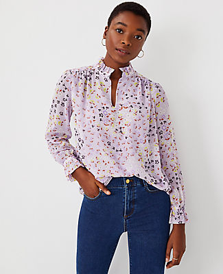 Ann Taylor Floral Ruffle Neck Top In Washed Lavender
