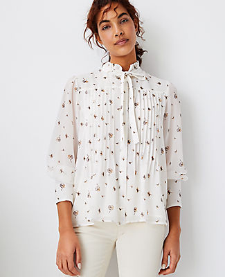 Ann Taylor Floral Pintucked Tie Neck Blouse In Winter White