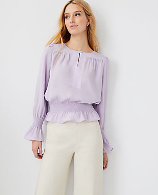 Ann Taylor Smocked Waist Top In Washed Lavender