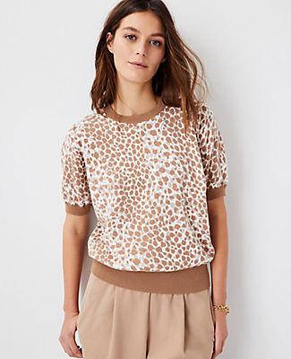 Ann Taylor Leopard Print Sweater Tee In Featherstone Beige
