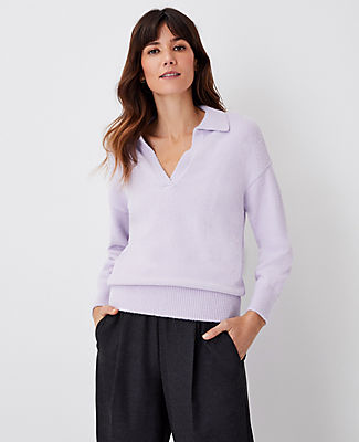 Ann Taylor Collared V-neck Sweater In Washed Lavender