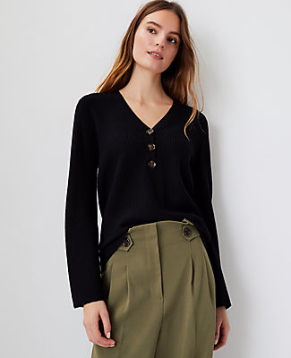 Ann Taylor Ribbed Henley Sweater In Black