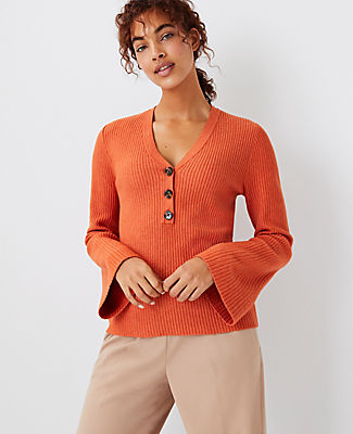 Ann Taylor Ribbed Henley Sweater In Dark Valencia