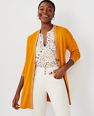 Ann Taylor Tipped Cardigan In Golden Sunray