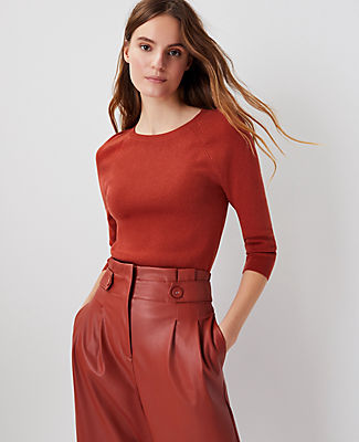 Ann Taylor Ribbed Raglan Sleeve Sweater In Moroccan Spice