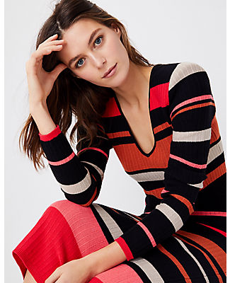 Ann Taylor Mixed Stripe Sweater Dress In Black Multi