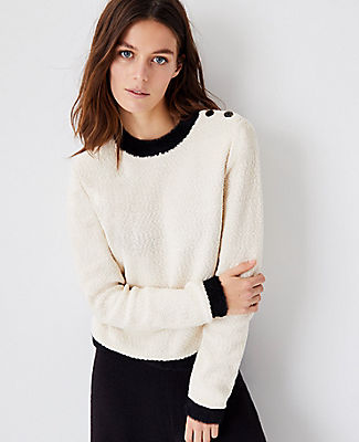 Ann Taylor Tipped Shoulder Button Sweater In Winter White
