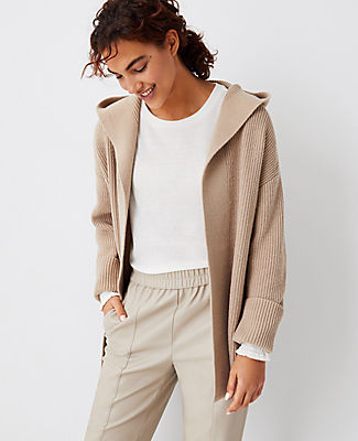 Ann Taylor Ribbed Hooded Open Cardigan In Featherstone Beige