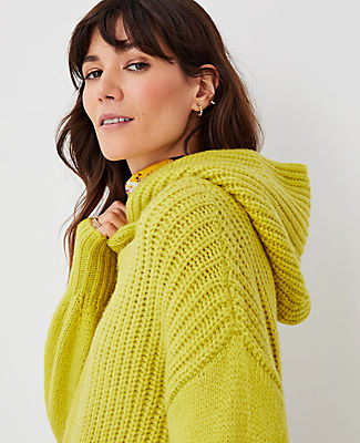 Ann Taylor Ribbed Hoodie Sweater In Dried Lime
