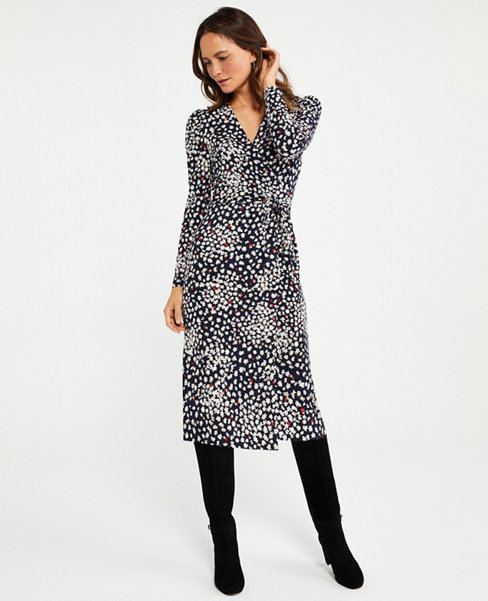 Anntaylor Petite Floral Puff Sleeve Wrap Dress