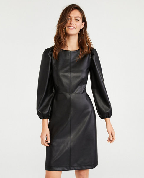 Anntaylor Petite Seamed Faux Leather Flare Dress