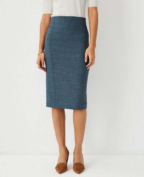 앤테일러 Ann Taylor The High Waist Pencil Skirt in Crosshatch,Teal Jade