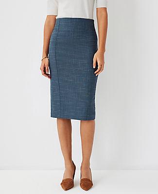 Ann Taylor The High Waist Pencil Skirt In Crosshatch In Teal Jade