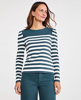 Ann Taylor Petite Striped Shoulder Button Puff Sleeve Top In Shadow Leaf