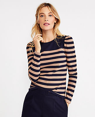 Ann Taylor Petite Striped Shoulder Button Puff Sleeve Top In Natural Teak