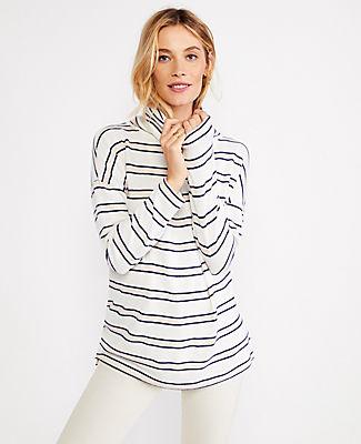 Ann Taylor Petite Striped Funnel Neck Tunic In Winter White