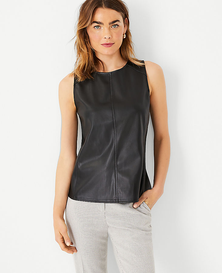 Anntaylor Petite Faux Leather Shell