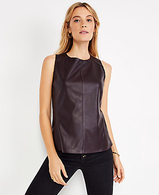 Ann Taylor Petite Faux Leather Shell Top In Midnight Fig