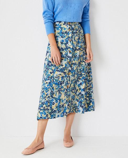 앤테일러 Ann Taylor Floral Button Front Midi Skirt,Deep Azure