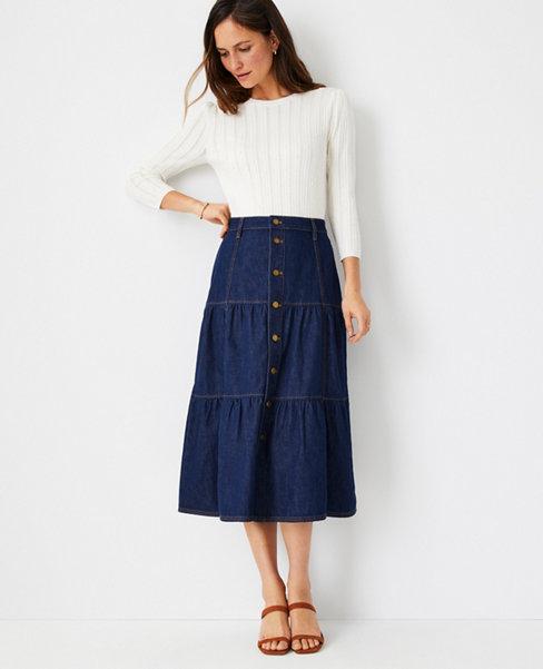 앤테일러 Ann Taylor Tiered Denim Midi Skirt,Rinse Wash