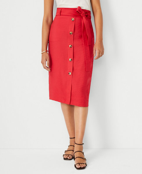 앤테일러 Ann Taylor Tie Waist Button Front Pencil Skirt,Rococco Red