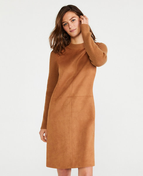 Anntaylor Petite Faux Suede Paneled Sweater Dress