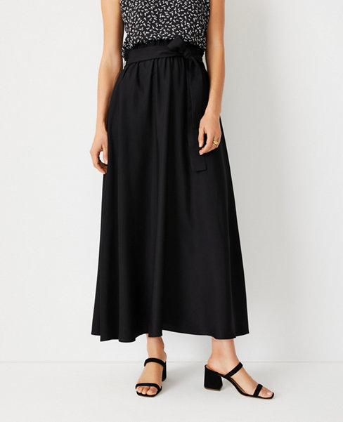 앤테일러 Ann Taylor Paperbag Pocket Maxi Skirt,Black