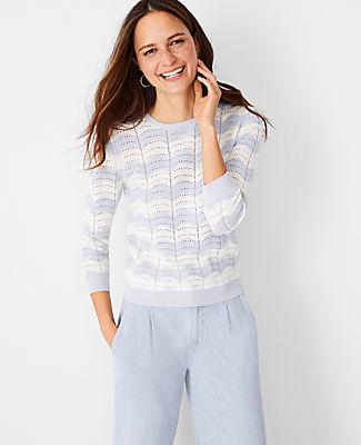 Ann Taylor Chevron Pointelle Sweater