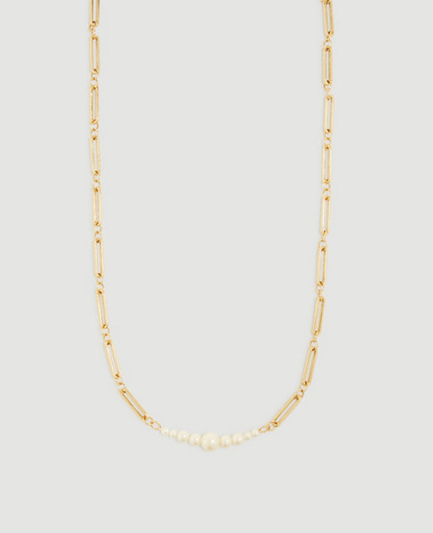 Anntaylor Pearlized Chain Necklace