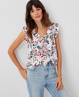 Ann Taylor Floral V-neck Ruffle Shell Top In Winter White