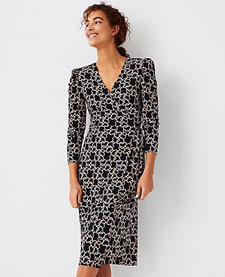 Ann Taylor Heart Chain Puff Sleeve Wrap Dress In Black