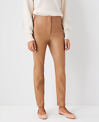 Ann Taylor The Audrey Pant In Faux Leather In Spiced Taupe